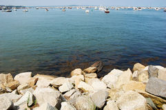 Rocky Sea shore in Plymouth, Massachusetts Stock Photos