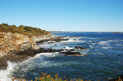 Rocky Sea shore in Portland, Maine Stock Images
