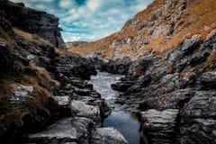 Rocky Sea Valley, Cornwall Coast stock photo