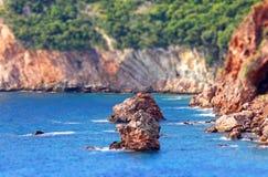 Rocky seacoast landscape (Tilt-shift effect). Rocky seacoast landscape. Adriatic sea, Montenegro (Tilt-shift miniature effect Stock Photo