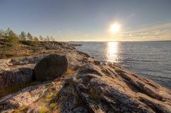 Rocky seacoast on sunrise. landscape Stock Photo