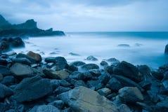 Rocky Seacoast, Taiwan, East Asia. Rocky Seacoast, long time exposure, Taiwan, East Asia Royalty Free Stock Photo