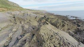 Rocky seascape stock video footage