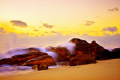 Rocky seascape on the Portuguese cost Royalty Free Stock Images