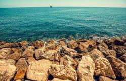 Rocky seashore. Cote d'Azur Stock Image