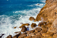 Rocky seashore. Cote d'Azur Royalty Free Stock Photos