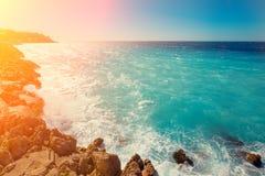 Rocky seashore. Cote d'Azur Stock Images
