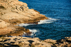 Rocky seashore in Salou Royalty Free Stock Image