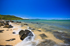 Rocky seashore. Scenic rocky seashore in a landscape image Royalty Free Stock Image