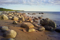 Rocky Seashore in summer sunny Stock Images