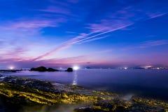 Rocky seashore sunrise. At Taiwan north coast Royalty Free Stock Photos