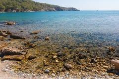 Rocky seaside of Mediterranean Sea. Stock Photos