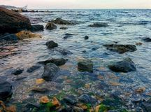Seascape with rocky shallows and waves. Sea view from rocky shalows Stock Photos
