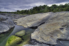 Rocky shore. In Stockholm archipelago stock images