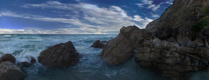 Rocky shore. Nobby beach rock coastline with waves,Australia stock photo