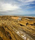 Rocky shore. Marine rocky shore. Visible structure of brown stone. Cloudy sky Royalty Free Stock Photography