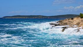Rocky shore of the Adriatic sea after storm stock footage