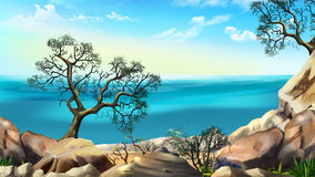 Rocky Shore Against Blue Sky Image libre de droits