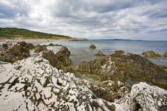 Rocky shore at Agios Ekaterinis Cape, Corfu Royalty Free Stock Photography