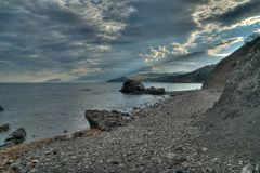 The rocky shore of the Black Sea royalty free stock image