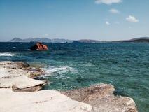 Rocky shore. A rocky shore with blue ocean Stock Image