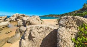 Rocky shore in Cala dei Ginepri Royalty Free Stock Photos