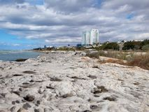 Rocky shore of the Caspian Sea. City of Aktau. Kazakhstan stock photos
