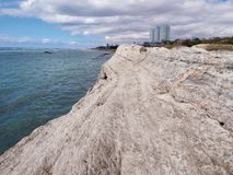 Rocky shore of the Caspian Sea. City of Aktau. Kazakhstan stock photo