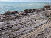 Rocky shore of the Caspian Sea. Lower point shooting. Close-up royalty free stock photos