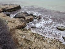 Rocky shore of the Caspian Sea stock photography