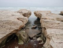 Rocky shore of the Caspian Sea. Mangistau region. Kazakhstan. Month of January royalty free stock photos