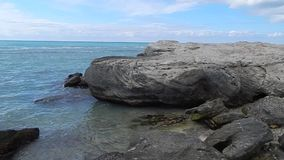 Rocky shore of the Caspian Sea. stock footage