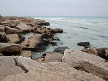 Rocky shore of the Caspian Sea. Mangistau region. Kazakhstan royalty free stock photography