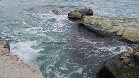 Rocky shore of the Caspian Sea. stock footage