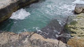 Rocky shore of the Caspian Sea. stock video footage