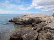 Rocky shore of the Caspian Sea. Seascape stock photos