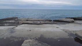 Rocky shore of the Caspian Sea. stock video