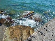 Rocky shore of the Caspian Sea. Caspian Sea, rocky shore. View of the stones stock images