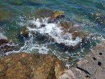 Rocky shore of the Caspian Sea. Caspian Sea, rocky shore. View of the stones royalty free stock image