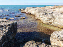 Rocky shore of Caspian Sea Royalty Free Stock Photo