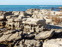 Rocky shore of Caspian Sea Stock Images