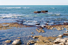 Rocky shore of Caspian Sea Royalty Free Stock Images