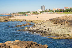Rocky shore city bay landscape view cove Oporto Porto Stock Photos