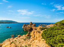 Rocky shore in Costa Paradiso Stock Image
