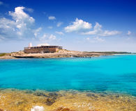Rocky shore of formentera turquoise sea Royalty Free Stock Photography