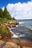 Rocky shore in Georgian Bay. Rocky lake shore of Georgian Bay in Killbear provincial park near Parry Sound, Ontario Canada Stock Images