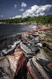Rocky shore of Georgian Bay. Georgian Bay landscape with rugged rocky lake shore near Parry Sound, Ontario, Canada Royalty Free Stock Images