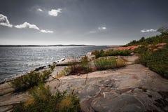 Rocky shore of Georgian Bay. Georgian Bay landscape with rugged rocky lake shore near Parry Sound, Ontario, Canada Stock Photo