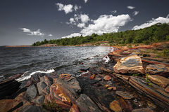 Rocky shore of Georgian Bay Stock Images