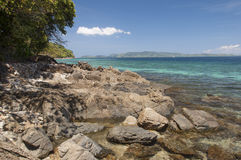 Rocky shore of island. Philippines Royalty Free Stock Photos